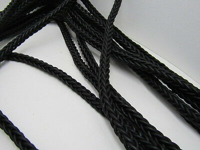 "Leather braided square cord., 5 yards of Antique black, 11mm size (7/16""), v576"