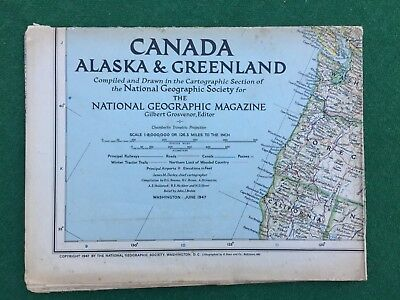 Vintage National Geographic Magazine Maps of Canada, Alaska, Greenland 1947