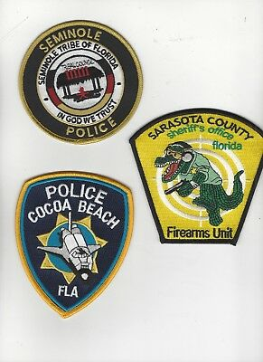 Set of 3 Florida Police Patches