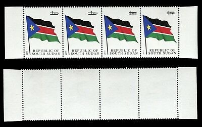 South Sudan - 2017 Printing Rejects, NO VALUE SHOWN. Strip of 4