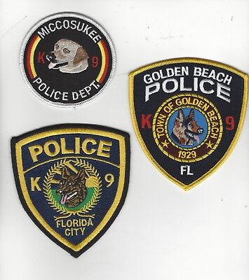 3 South Fla Area K9 Police Patches-  RESTRICTED SALE
