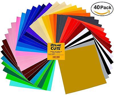Adhesive Backed Vinyl 12 x 12 in. Assorted Color Durable Craft Cutters 40 Sheets
