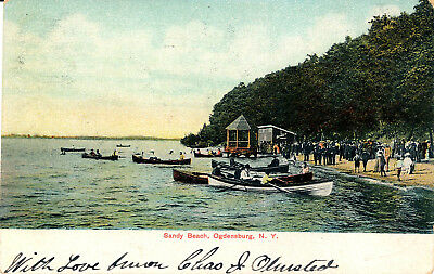 Sandy Beach, Ogdensburg, N.y. People In Rowboats; On Beach. Bath House. Pavilion