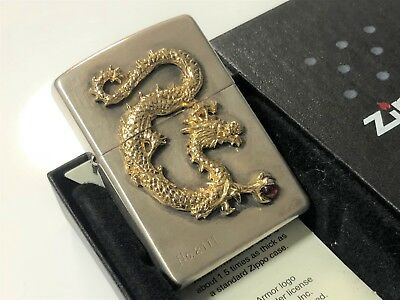 Rare! ZIPPO 2004 Limited Edition 3D Dragon Holding Red Crystal Stone Lighter