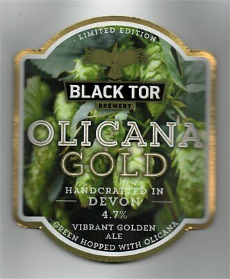 Beer pump clip front. Black Tor Brewery, OLICANA GOLD, Vibrant gold Ale.