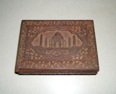 Antique Beautifully Hand Carved Indian Rosewood Box With Taj Mahal