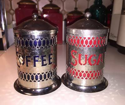 ~~ Vintage Hammered Silver Coffee Sugar Canisters Cobalt & Red Inserts ~~