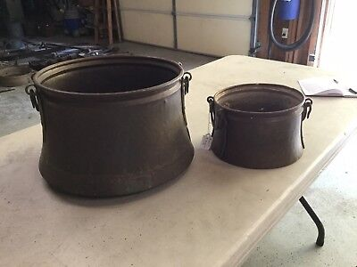Pair Copper Cauldron Vintage Large Hanging Fireplace Pots Hand Forged Primitive