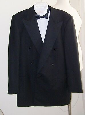 ALFRED DUNHILL Italy BLACK Wool TUXEDO JACKET 100's 42 L Double Breasted MINT