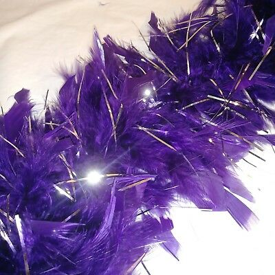 6 Ft Long Feather Boa Silver Purple Costume Fun Dress Photo Booth