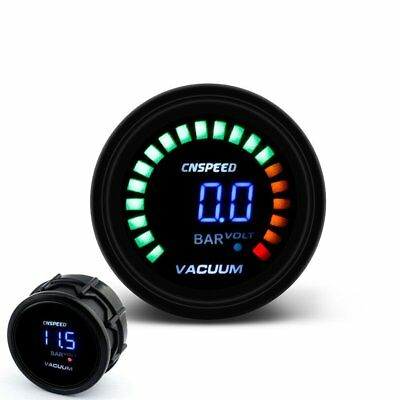 2inch 52mm size Gauge Meter Car Smoke Lens LED Digital Bar Vacuum With Sensor