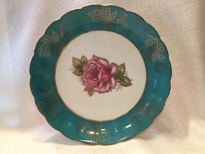 "Royal Halsey English Very Fine China Plate 8"" Teal Green Pink Rose"