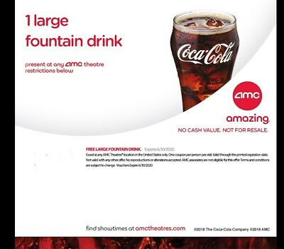 AMC Theater Coupons - Large Coke And Large Popcorn - Expires 06/30/20