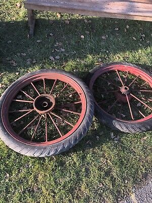 Antique Iron Metal Very Old 16 Spoke Vintage Wheels 38inches, Pair