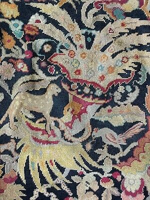 Gorgeous Antique French Tapestry Needlepoint Petit Point for Pillow Stool