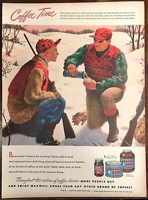 1948 MAXWELL HOUSE Coffee Print Ad- Father and Son Hunting Art by James Chapin