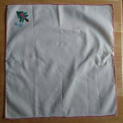 Vintage handmade christmas napkins Applique embroidery table dinner gift