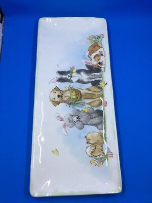 Pier 1 One Imports Easter Spring Dog Bunny Plate Platter Porcelain NWT
