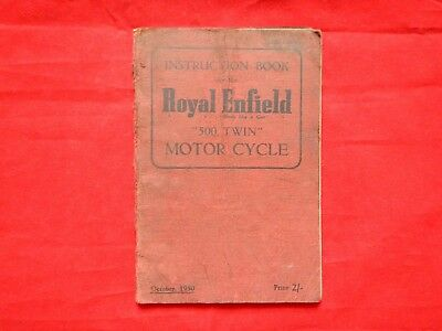 Royal Enfield 1950 1951 500 Twin Owners Manual Guide Instruction Book