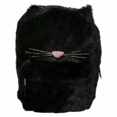"""You're So Purrfect Fur Kitty 16"""" Plush Backpack School Book Bag Tote Black Cat"""