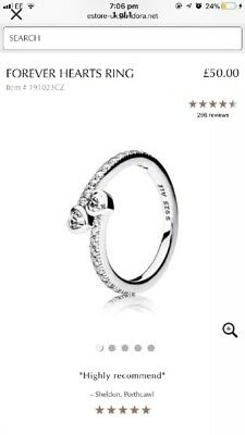 41b4269cf8bc0 PANDORA FOREVER Hearts Ring. Sterling silver S925 ALE - £17.99 ...