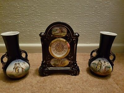 Vintage Porcelain Mantel Clock MERCEDES Wind Up Movement + 2 Matching Vases