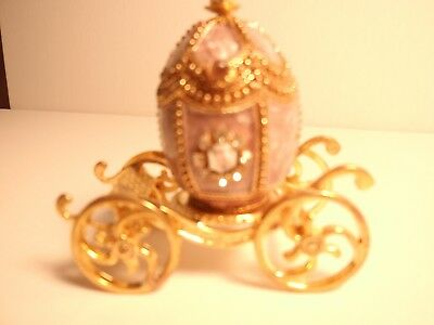 """Kingsport Faberge Pigeon Egg, Carriage, Purple & Gold, Treasure or Decor, 2.75"""""""