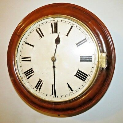 """Antique 8 Day Fusee  English  12"""" Dial Wall Clock. Working & Good Time Keeper"""