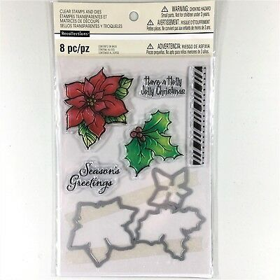 Recollections Poinsettia Clear Stamp & Die Set Christmas Holiday Flower Holly