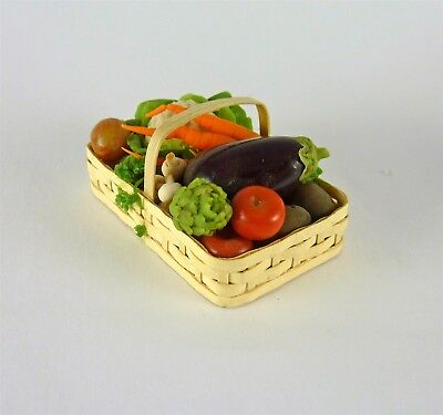 Werth Estate Sale Dollhouse Miniature Barb Lotto Basket of Vegetables, 2004