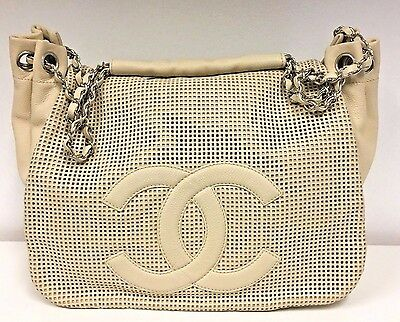 5b01b7961bf0 CHANEL Cream Caviar Leather Shoulder Bag w/ Perforated Flap & Silver  Hardware