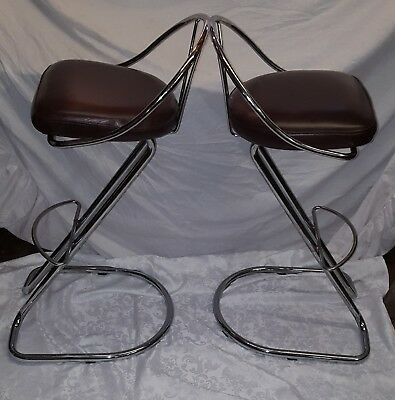 Vintage Pair Of Stylish Chrome Breakfast Z Stools With Soft Brown Leather Seats