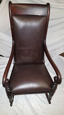 Superb Victorian Mahogany Leather  Rocking Chair Ideal Usable Collectable Rocker