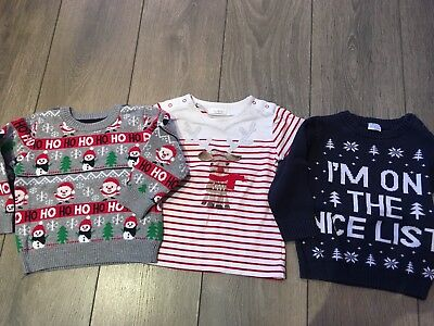 Baby Boy Christmas Jumper/Tops Age 12-18 Months
