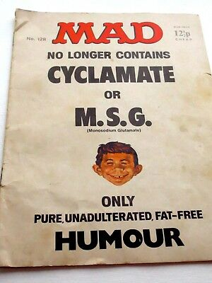"VINTAGE MAD MAGAZINE HUMOUR COMIC No. 128 ""No Cyclamate or MSG ..."""