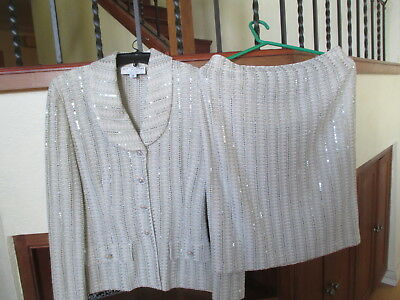 St. John Marie Gray Collection Gorgeous Suit Top Skirt Set, Size 10