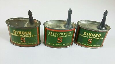 Vintage Singer oil cans , empty  (3 nos ) for Singer sewing machines
