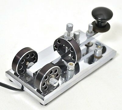 """Unmarked heavy chrome straight Morse code telegraph key CT """"Cannon"""""""
