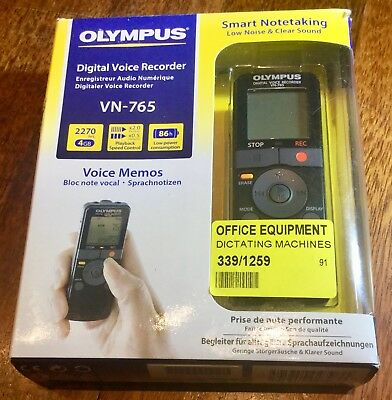 Olympus VN-765 Digital Voice Recorder, 4GB, 2270 Hours, One Touch Recording, NEW