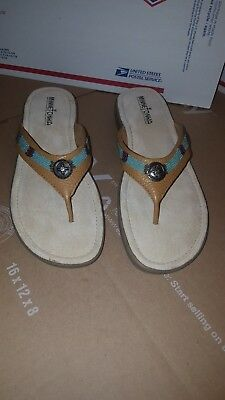 Minnetonka Moccasin Women's Leather Southwest Beaded Flip Flop Sandals Sz 9 5208