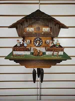 RARE Vintage German 1 Day Musical Cuckoo Clock w Dogs Musicians Cuendet