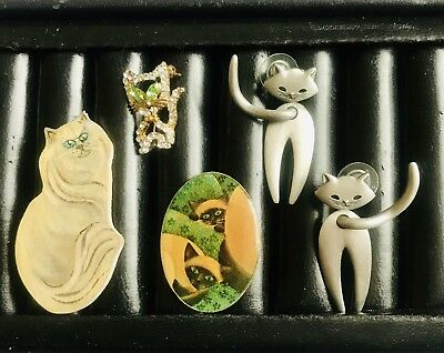 Designer Cat 😺earrings Plus Three Cat Themed Brooches All Various Compositions
