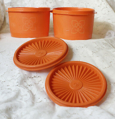 Pair of Tupperware Orange 3.5 inch Tall Stacking Harvest Canisters & Seals 1297