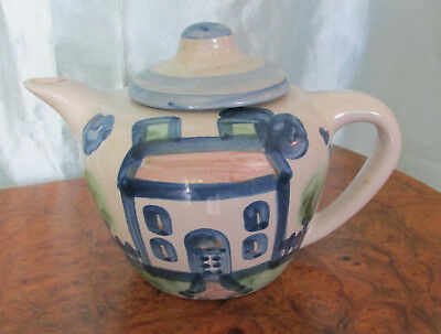 "ORIGINAL M.A. Hadley Teapot With Cover Country Pattern ""House"" 5.5"" tall"