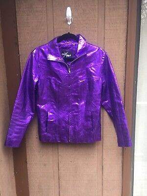 Metallic Purple Real Leather Jacket Medium M MAXIMA by WILSON'S Hipster Vintage