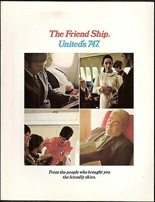 BROCHURE - United Airlines,  new 747 Friend Ship, 1970