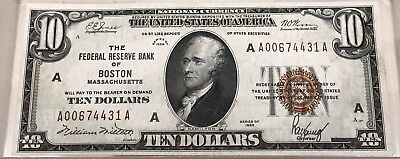 1929 $10 Federal Reserve Bank Note Boston District Very Fine FR 1860-A GORGEOUS