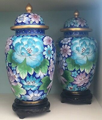 Pair Of Heavy Chinese Bronze Cloisonne Vases Beautiful Quality Millefleur Insect