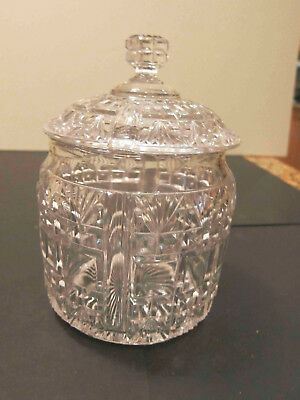 Antique Vintage Cut Leaded ART Glass Covered Candy Dish Bowl