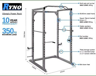 "Ryno power rack squat cage up to 350kg load. olimpic 2"" or the 1"" normal weights"